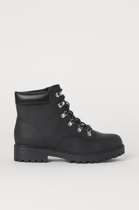 H&M Faux Shearling-lined Boots - Black