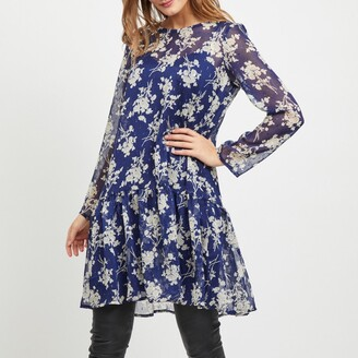 Vila Viflexa Voile Floral Print Dress with Ruffled Drop-Waist