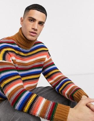 Asos DESIGN roll neck sweater in multi colored stripe