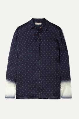 Tory Burch Printed Silk-satin Shirt - Midnight blue