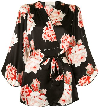 Fleur Du Mal Angel Sleeve rose print robe