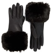Ted Baker Women's Leather Gloves With Faux Fur Cuff