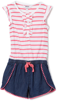 DKNY Dark Wash & Stripe Romper - Infant Toddler & Girls