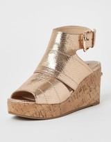 River Island Open Toe Wedge Sandals - Rose Gold