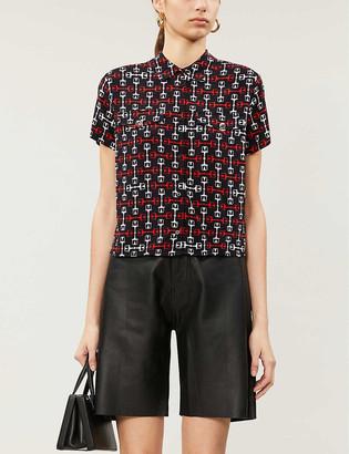Maje Geometric-print woven shirt