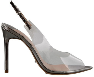 Tony Bianco Mystery Clear Vynalite/Gunmetal Shine Heels