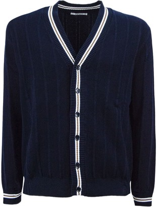 Kangra Blue Cotton V-neck Cardigan