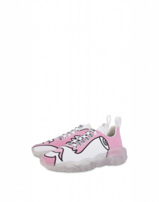 Moschino Woman's Drawing Teddy Shoes Sneakers Woman Pink Size 35 It - (5 Us)