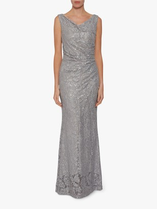 Gina Bacconi Harlene Sequin Lace Maxi Dress, Grey