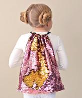 Whitney Elizabeth Girls' Backpacks pink - Pink & Gold Reversible Sequin Drawstring Backpack - Girls