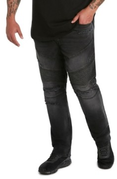 Mvp Collections By Mo Vaughn Productions Mvp Collections Men's Big and Tall Denim Destructed Biker Jeans
