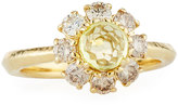 Ippolita 18k Lollipop Mini Flower Ring w/ Citrine & Diamonds, Size 7