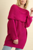 Umgee USA Ribbed Fold-Over Sweater
