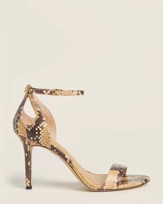 Lauren Ralph Lauren Honey & Black Gretchin Anke Strap Snakeskin Sandals