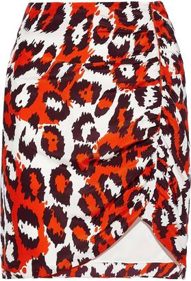 Diane von Furstenberg Nadia Ruched Leopard-print Silk Mini Skirt