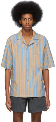 Acne Studios Brown and Blue Striped Simon Shirt