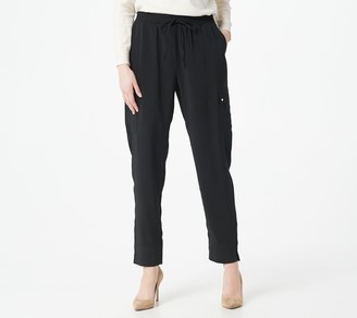 Susan Graver Petite Stretch Satin-Back Crepe Pull-On Ankle Pants