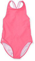 Ralph Lauren 7-16 Cross-Back One-Piece Swimsuit