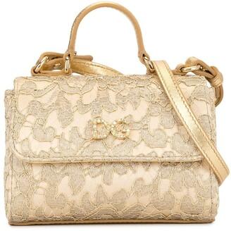 Dolce & Gabbana crystal-embellished lace shoulder bag