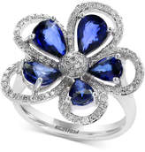 Effy Final Call Diffused Ceylon Sapphire (3-1/10 ct. t.w.) and Diamond (3/8 ct. t.w.) Flower Ring in 14k White Gold