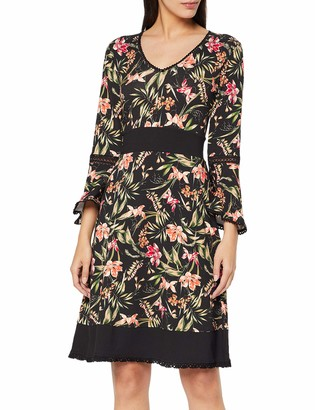 Joe Browns Women's Fluted Sleeve Jersey Dress Black (Black Multi (Size:12)