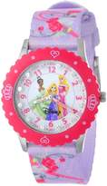Disney Kids' W000386 Glitz Princess Stainless Steel Time Teacher Pink Bezel Printed Strap Watch