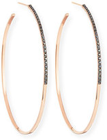 Lana Reckless Vol. 2 Large Femme Hoop Earrings with Black Diamonds in 14K Rose Gold