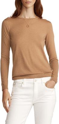 Ralph Lauren Collection Crewneck Long-Sleeve Cashmere Jersey Top