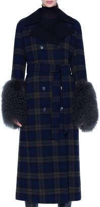 Akris Quilted Lamb-Cuff Plaid Coat