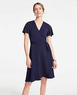 90be961c10a Ann Taylor Petite Flutter Sleeve Ruffle Hem Wrap Dress