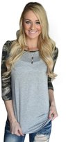 Orangeskycn Women Loose Splice Camouflage Printing Round Neck Pullover Blouse Tops T Shirt (L)
