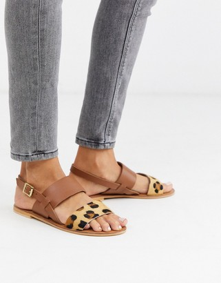 ASOS DESIGN Foxglove leather flat sandals in leopard