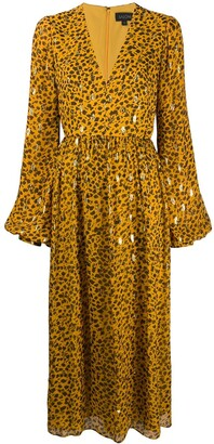 Saloni Leopard Print Flared Dress