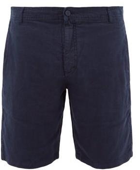 Vilebrequin Logo-patch Slubbed-linen Poplin Shorts - Mens - Navy