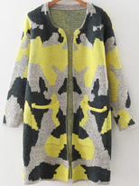 Shein Yellow Camouflage Pattern Long Cardigan With Pockets