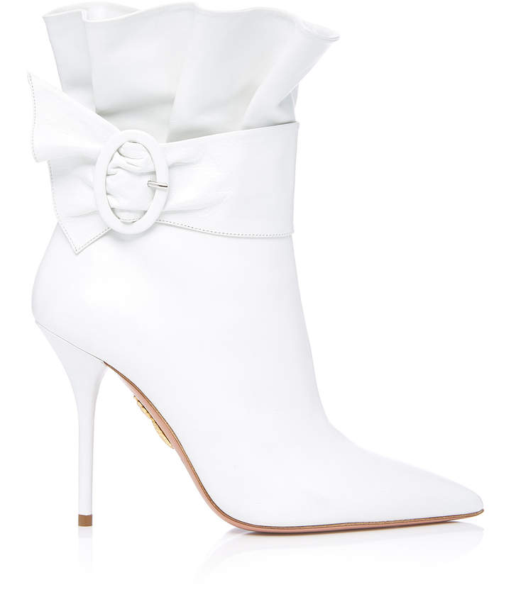 Aquazzura Palace Ruffled White Leather Ankle Boots