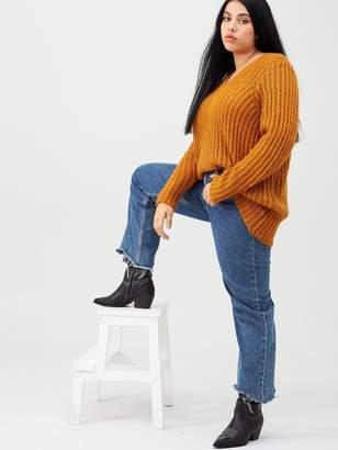 Junarose Oviya Long Sleeve Knit Pullover - Gold