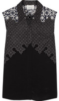 3.1 Phillip Lim Embroidered Organza And Washed-Silk Top