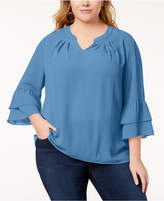 NY Collection Plus Size Bell-Sleeve Top