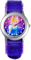Disney Children 32mm Glitz Cinderella Time Teacher Watch in Stainless Steel with Purple Strap