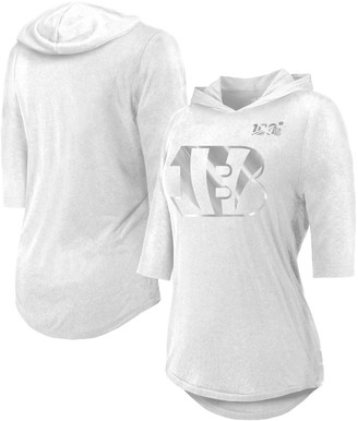 Majestic Women's Threads White Cincinnati Bengals NFL 100th Season Platinum Hilo 3/4-Sleeve Hooded T-Shirt