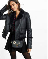 Express black faux shearling moto jacket