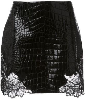 Versace Crocodile-Effect Mini Skirt