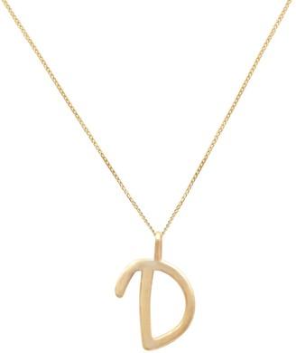 14K Solid Gold Letter D Pendant Necklace