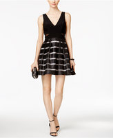 Xscape Evenings Illusion Striped Fit and Flare Dress