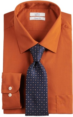 Croft & Barrow Big & Tall Stretch Collar Dress Shirt and Patterned Tie Boxed Set