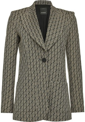 Pinko Geometric-Print Single-Breasted Jacket