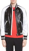 Givenchy Men's Souvenir Leather & Satin Bomber Jacket