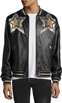 Just Cavalli Metallic Star Leather Bomber Jacket, Black