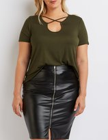 Charlotte Russe Plus Size Strappy Caged Tee